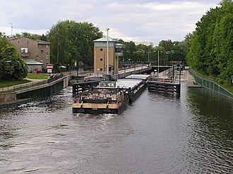 Havel - A barge tow passing through Spandau Lock