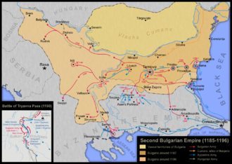 Uprising of Asen and Peter - Image: Second Bulgarian Empire (1185 1196)