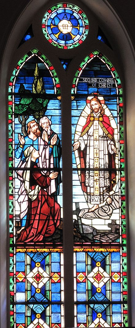 The Second Coming of Christ stained glass window at St. Matthew's German Evangelical Lutheran Church in Charleston, South Carolina, United States. Second Coming of Christ window.jpg