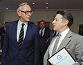Secretary of Defense Caspar Weinberger meets with Foreign Minister Van der Stoel of the Netherlands in the Pentagon 1983.jpg