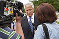 Secretary of Defense Chuck Hagel, center, speaks with Barbara Starr, right, a Pentagon correspondent for CNN, at Arlington National Cemetery May 27, 2013, after attending President Barack Obama's Memorial Day 130527-D-HU462-474.jpg