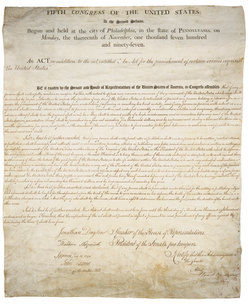 The Sedition Act of 1798: Summary & Analysis