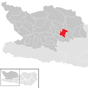 Location of the municipality of Seeboden on Lake Millstatt in the Spittal an der Drau district (clickable map)