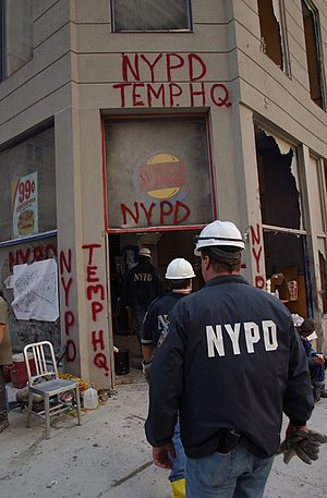 Rescue and recovery effort after the September 11 attacks on the World Trade Center - Temporary NYPD headquarters at the Burger King at 106 Liberty Street, set up near the World Trade Center on September 11, 2001.