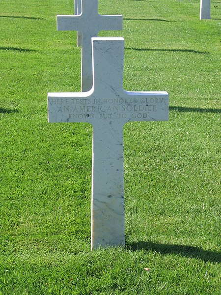 The tomb of an unknown american who died in 1917, during World War I, located in the Oise-Aisne American Cemetery in Seringes-et-Nesles, near Fère-en-Tardenois, France