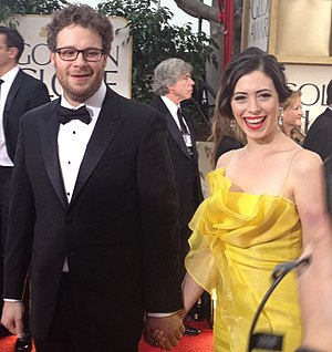 Seth Rogen - Rogen with his wife, Lauren Miller, at the 69th Annual Golden Globes Awards in 2012