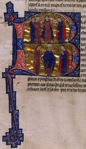 Sibylla, Queen of Jerusalem - Top: Baldwin IV betrothes Sibylla to Guy; Bottom: Sibylla and Guy are married. (MS of William of Tyre's Historia and Old French Continuation, painted in Acre, 13C. Bib. Nat. Française.)