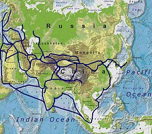International trade - Ancient Silk Road trade routes across Eurasia