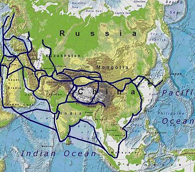 Ancient Silk Road trade routes across Eurasia Silkroutes.jpg