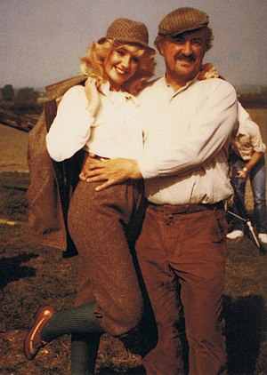 Bernard Cribbins - Cribbins with Susie Silvey during the filming of Cuffy (1983)