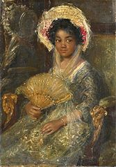 Young Woman holding a fan