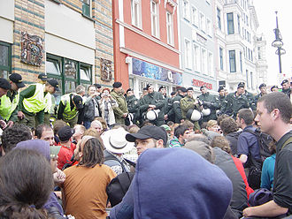 Sit-in - Image: Sit in G8 Rostock 2008