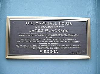 Sons of Confederate Veterans - Marshall House plaque, within a blind arch near a corner of hotel in Alexandria, Virginia before its removal (2009)