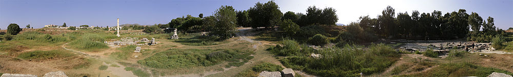 A view of a landscape rising to a hilltop covered with small trees. There are many small hollows, ridges and tracks. The landscape is littered with the remains of marble buildings, including a single column standing to the left.