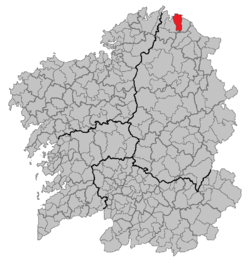 Situation of Xove within Galicia