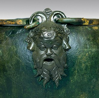 Silenus - Silenus mask, detail from a bronze stamnoid situla, 330–310 BC, part of the Vassil Bojkov Collection, Sofia, Bulgaria