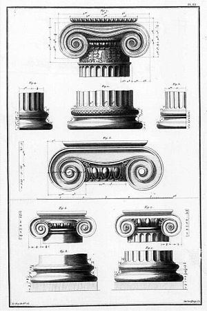 Volute - Examples of Ionic volutes. From Julien David LeRoy, Les ruines plus beaux des monuments de la Grèce, Paris, 1758 (Plate XX)