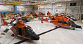 Six U.S. Coast Guard MH-65 Dolphin helicopters from Coast Guard Air Stations Mobile, Ala., New Orleans and Houston are stored inside a hangar at Air Station Houston Aug. 28, 2012, in preparation for Hurricane 120828-G-EK967-119.jpg