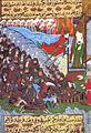 Siyer-i Nebi - Gabriel -dschabrail- und weitere Engel unterstützen die Muslime während der Schlacht von Badr.jpg