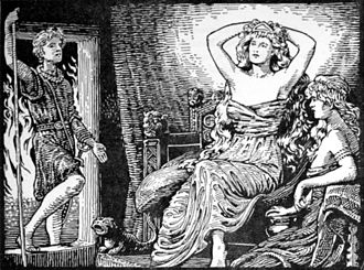 Gerðr - Skirnir's Message to Gerd (1908) by W. G. Collingwood.