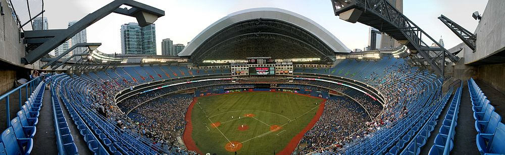 Panoramic view of Blue Jays game with open roof.