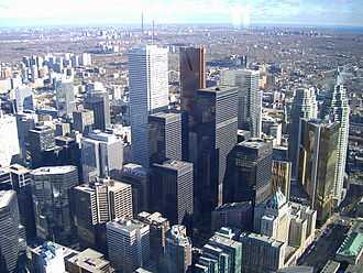 Downtown Toronto - View of the Financial District in Downtown Toronto taken from the CN Tower.