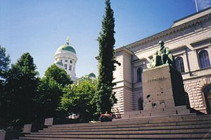 Johan Vilhelm Snellman - Statue of Johan Vilhelm Snellman in front of the Bank of Finland, Helsinki.