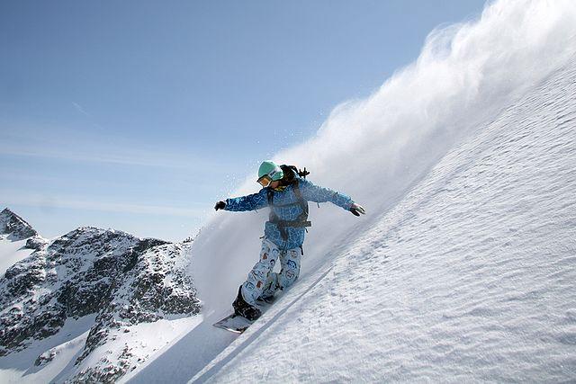 Snowboarder beim Ausnützen der Hangabtriebskraft image source