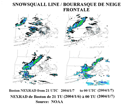 Frontal snowsquall moving toward Boston, Massachusetts Snowsquall line-Bourrasque neige frontal NOAA.png