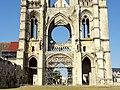 Soissons (02), abbaye Saint-Jean-des-Vignes, abbatiale, nef, massif occidental, 1er et 2e niveau d'élévation, vue depuis l'est.jpg