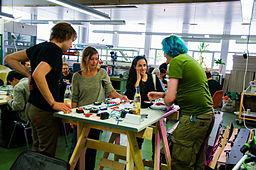 Solder workshop at FIXME Hackerspace, Renens, Lausanne (2015-05-23 06.28.39 by Mitch Altman)