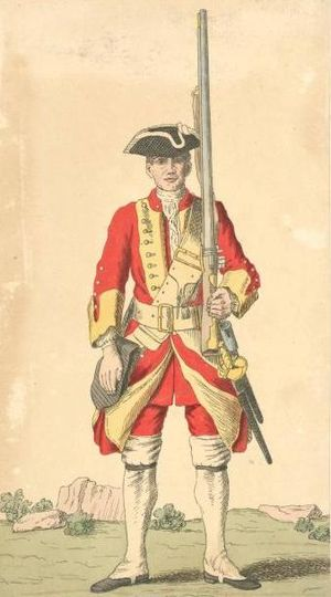 British soldiers in the eighteenth century - Redcoat soldier of the 29th Regiment of Foot in 1742