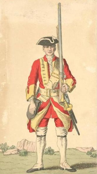 29th (Worcestershire) Regiment of Foot - Soldier of the 29th Foot in 1742