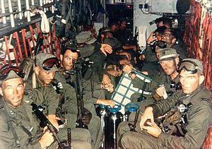 1970 in the Vietnam War - Blueboy assault group aboard Banana HH-3E at the start of Operation Ivory Coast  CPT Richard Meadows is seated in the left foreground.