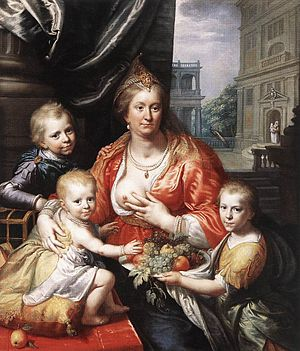 Ernest Casimir I, Count of Nassau-Dietz - Sophia Hedwig and some children, by Paulus Moreelse.