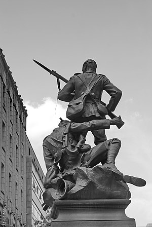 Manchester Regiment - A regimental South African War Memorial (the work of William Hamo Thornycroft) in St Ann's Square, Manchester
