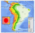 South America seismic hazard map with estimated El Tigre Fault location inset.png