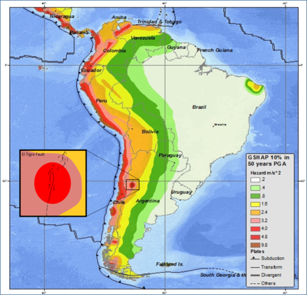 Example of a hazard map South America seismic hazard map with estimated El Tigre Fault location inset.png