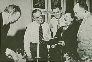James A. Michener - The creative team and star of South Pacific, L–R: Joshua Logan, Richard Rodgers, Oscar Hammerstein II, Mary Martin, and Michener (1949)
