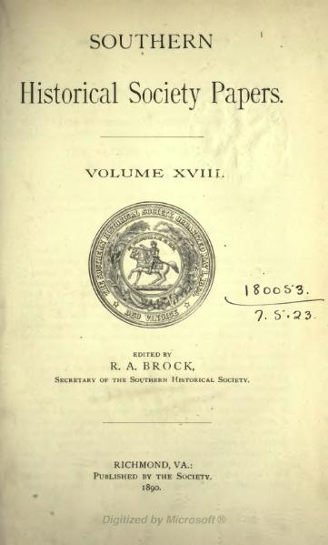File:Southern Historical Society Papers volume 18.djvu