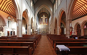 St Mary's, Cadogan Street - A view of the nave and high altar from the back of the church