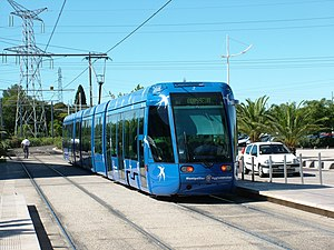 Montpellier tramway - A Citadis 401 tram on line 1 at Odysseum