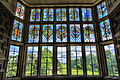 Stained glass window, overlooking gardens of Montacute House (4675709559).jpg