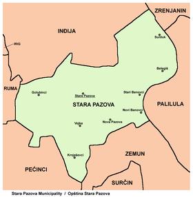 nova pazova mapa srbije Stara Pazova (općina) – Wikipedija nova pazova mapa srbije