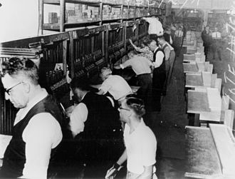 Tote board - Behind the betting windows at Ascot racetrack, Australia February 1939