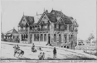 Normanby Hotel - Architectural drawing of the Normanby Hotel, circa 1890