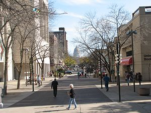 State Street (Madison) - A view of State Street from Library Mall. Fall, 2007.
