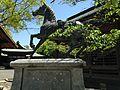 Statue of horse with Drum Hall and Bell Hall in Miyajidake Shrine.JPG