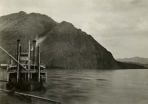 Steamer landing and rocky bluff on Yukon River, at Eagle, Alaska.jpg