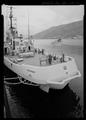 "Stern view of fantail looking forward ""deckies"" painting bollards - USS SHACKLE, ARS 9, Ketchikan, Ketchikan Gateway Borough, AK HAER AK-49-11.tif"